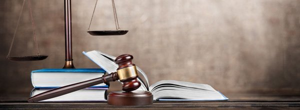 Law books with gavel