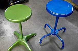Granny apple green and sparkle blue on work stools