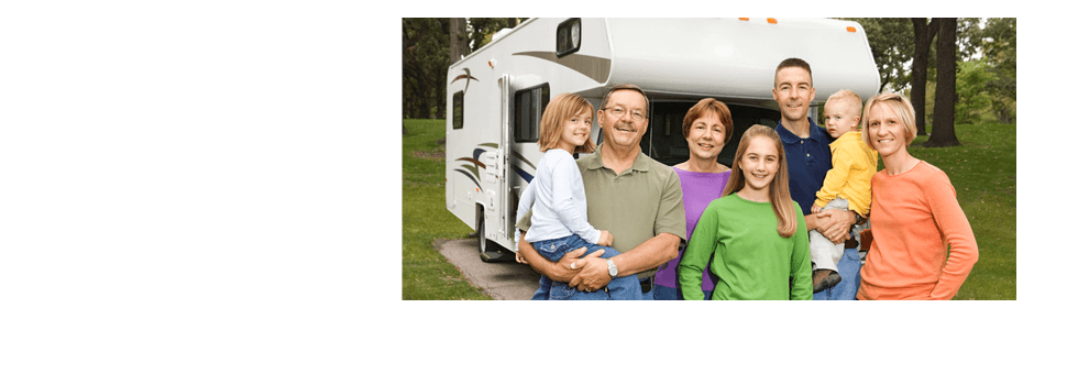 A happy family with a background of a RV