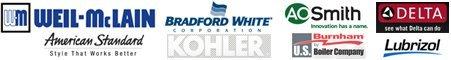 Kohler, Delta, American Standard,   BlazeMaster Fire Sprinkler Systems,   A.O. Smith, Bradford, Weil-McLain,   Burnham Logo