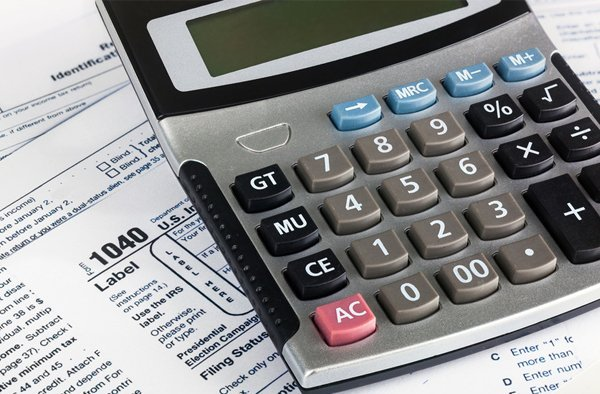 Calculator used in tax preparation