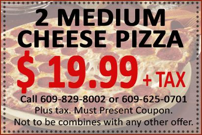 Coupon | Specials | Italian Restaurant  | Mays Landing, NJ | Nino's Pizza Festival | 609-829-8002