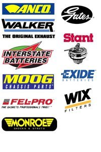 Anco Wiper blades, Gates belt and hoses, Fel-pro gaskets, Monroe shocks and struts, Moog chassis parts, National bearings,  Stant gas caps, Walker exhaust,  Wix filters,  Interstate batteries, and Exide batteries