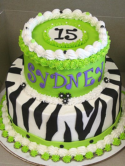 Green and zebra print cake