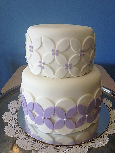 Purple and white cake