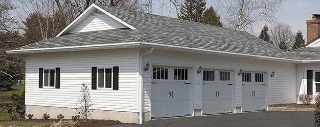 Garage with roof shingle