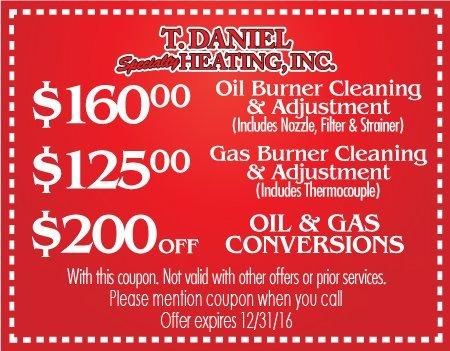 Coupon | Landing, NJ | T Daniel Specialty Heating | 973-927-5742