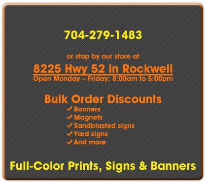 Custom Signs and Promotions - Rockwell, NC - Graphic Signs