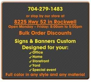 Custom Signs and Banners - Rockwell, NC - Graphic Signs