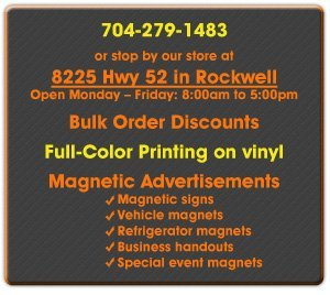 Magnetic Signs and Vinyl Prints - Rockwell, NC - Graphic Signs