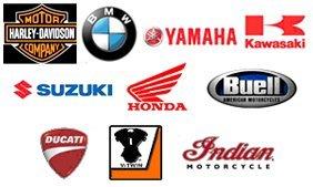 Harley-Davidson, BMW, Yamaha, Kawasaki, Suzuki, Honda, Buell, Ducati, V-twin, and Indian Motocycle