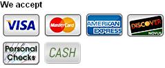 Visa, MasterCard, American Express, Discover, Cash, Personal Checks
