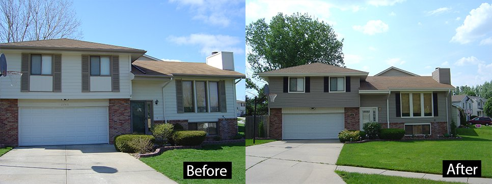 Before and after of Siding