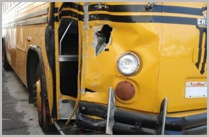 Wrecked yellow bus