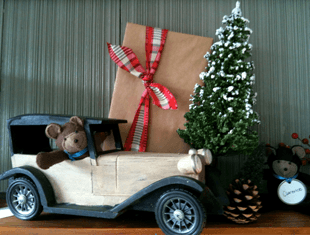 Packed Picture Frame, Antique Jeep With A Doll In A Driver Seat And X-Mas Tree