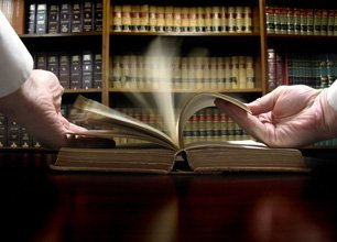 lawyer browsing books