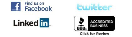 Facebook, Twitter, LinkedIN, BBB