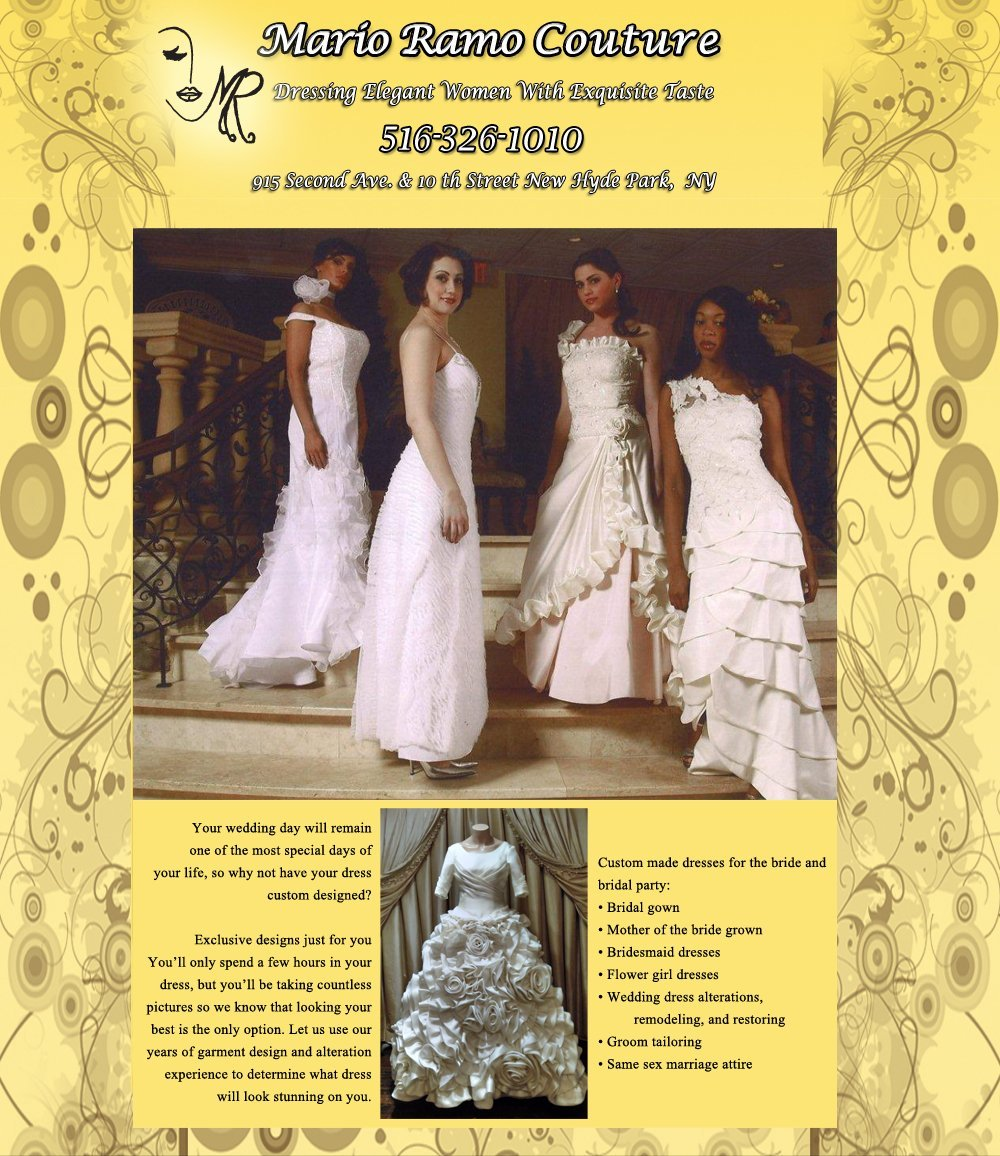 Fashion Designer and Dress Maker - New Hyde Park, NY - Mario Ramo Couture