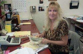 Woman on a desk