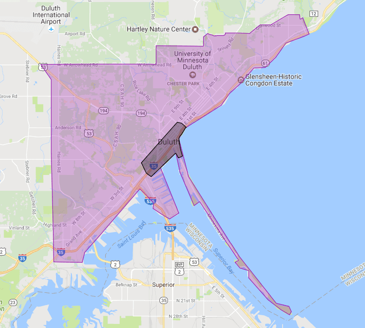 Toasty's Downtown Service Area Map