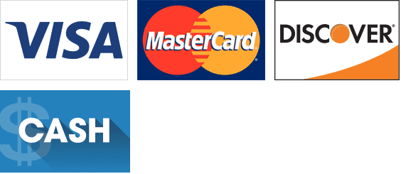 Visa, MasterCard, Discover, and Cash