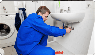 Repairman fixing the faucet line