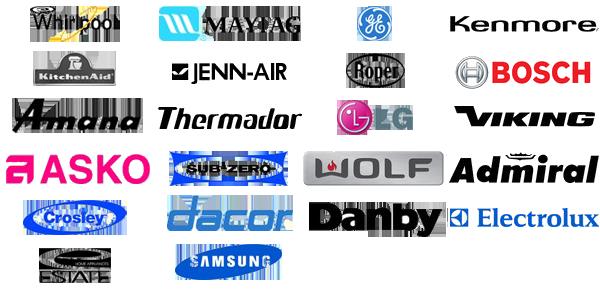 Whirlpool, Maytag, GE / Hot Point, Kenmore, Kitchenaid, Jenn-Air, Roper, Bosch, Amana, Thermador, LG, Viking, Asko, Sub-Zero, Wolf, Admiral, Crosley, Dacor, Danby, Electrolux, Estate, Samsung