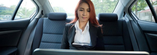 Woman inside limo