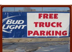 Free Truck Parking sign