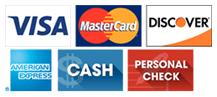 Visa, MasterCard, Discover, American Express, Cash, Personal Check