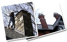 Chimney - Zirconia, NC - Alan's Home Services & Chimney Sweep - man cleaning chimney, chimney