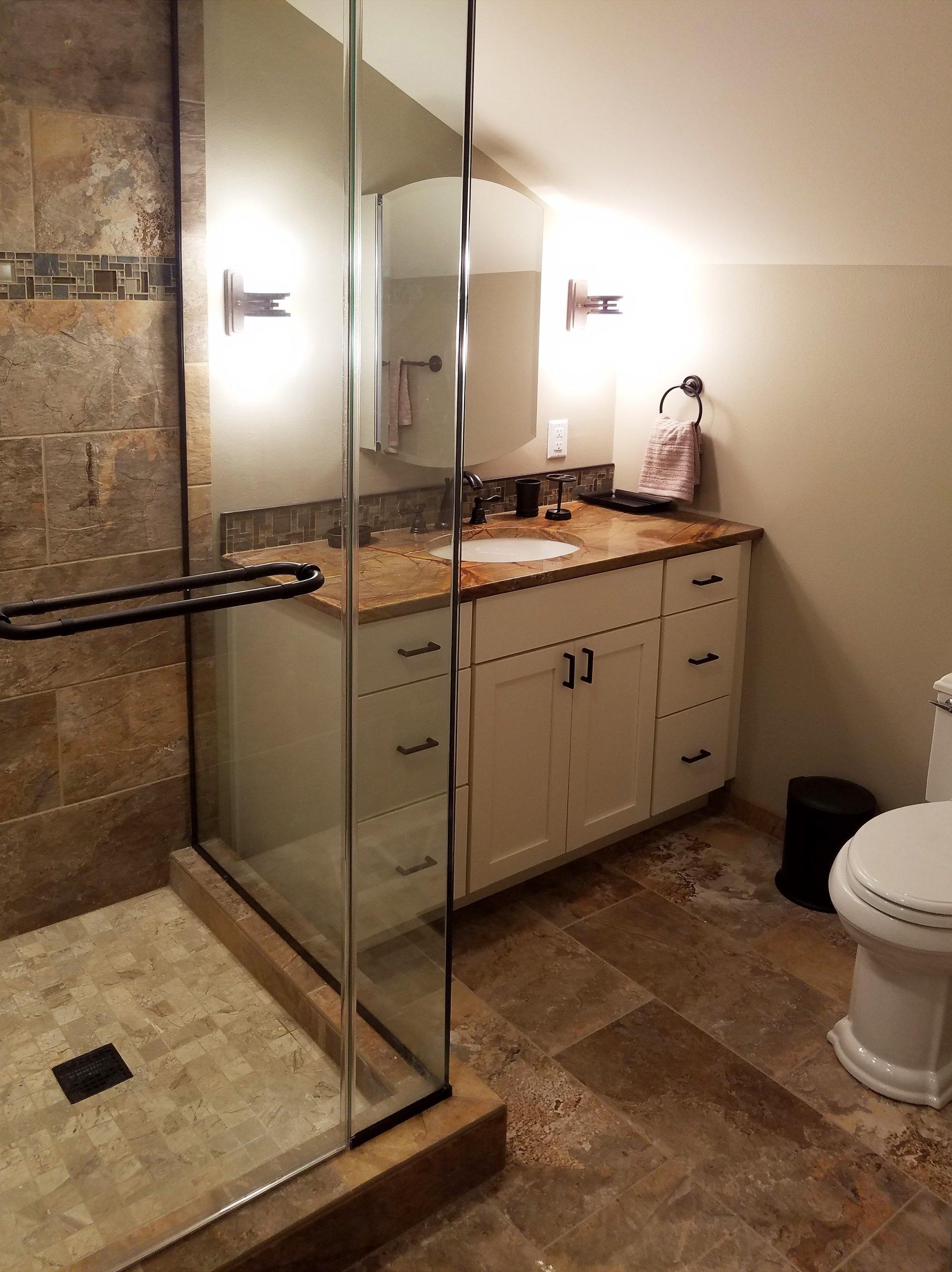 Bathroom vanities madison wi - Small Bathroom Remodel In Madison Wi Corner Shower Slanted Ceiling Bathroom Design