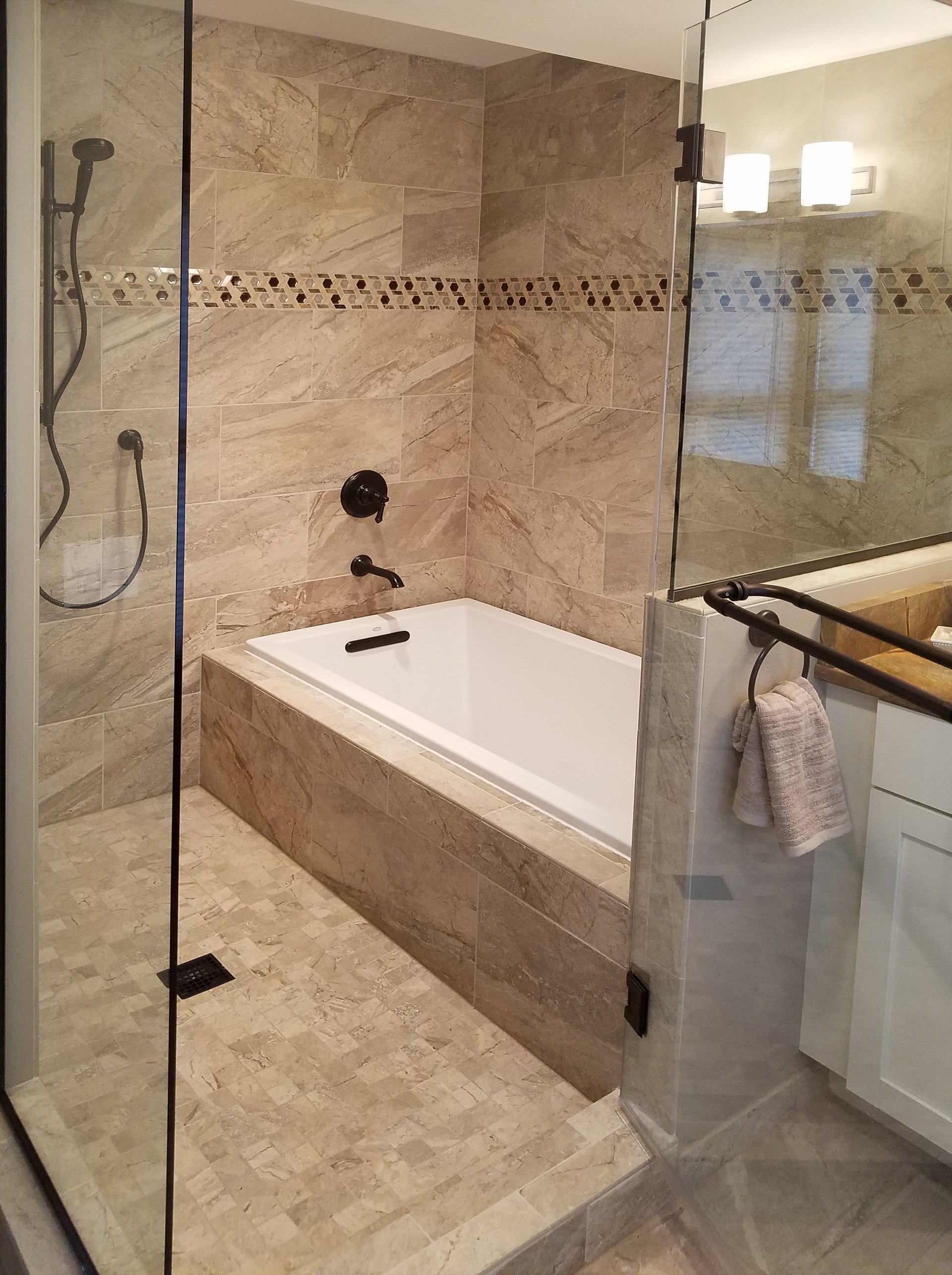 Bathroom design madison wi - Transitional Bathroom Remodel In Madison Wi Tub And Shower Glass Enclosure Soaking Tub