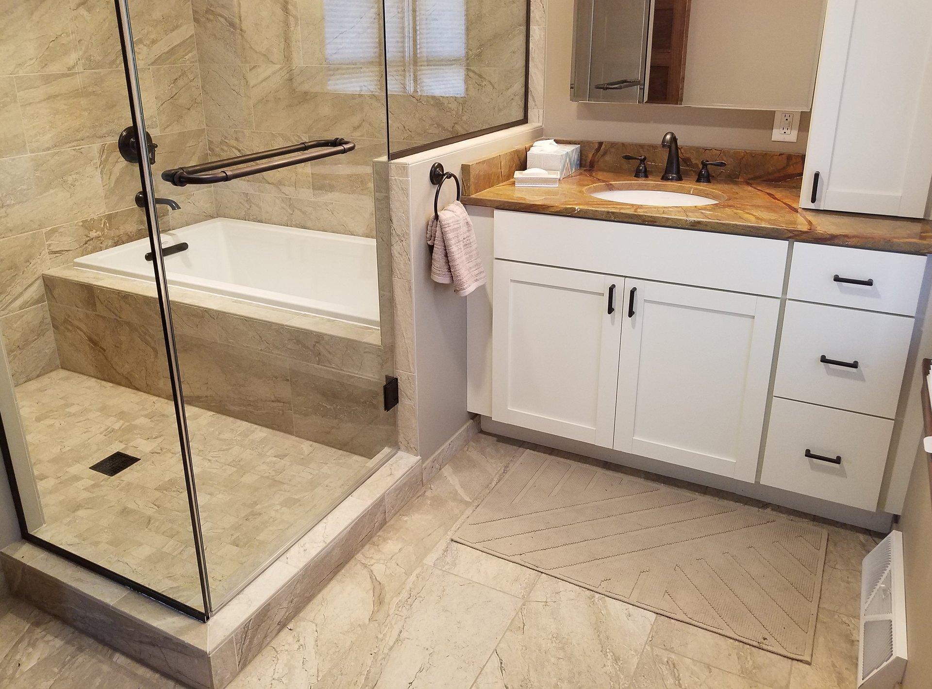 Bathroom vanities madison wi - Master Bath Remodel In Madison Wi Beige Bathroom Tile White Shaker Vanity