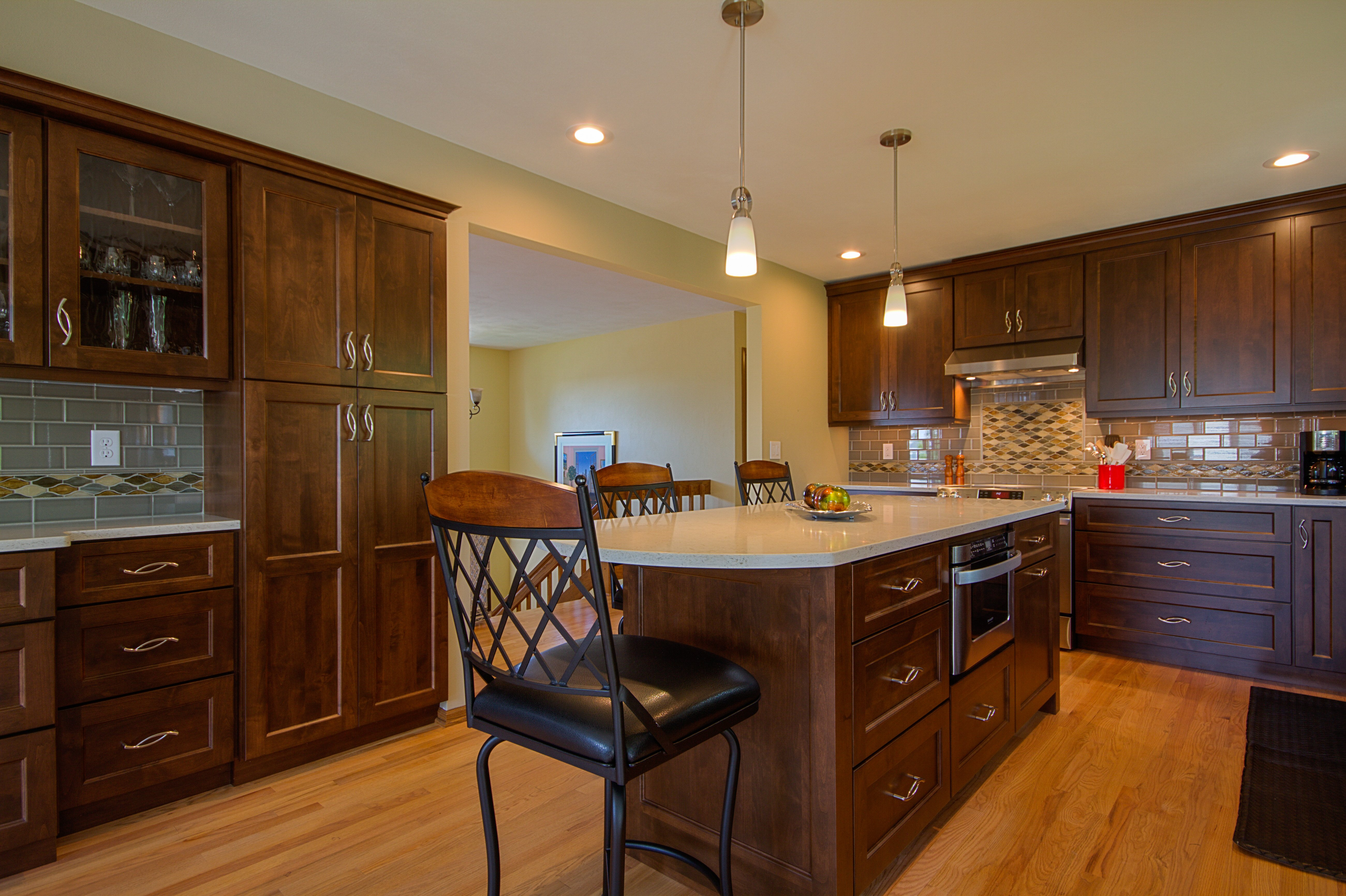Kitchen Remodeling and Design, microwave in the island, 36'' wide island,