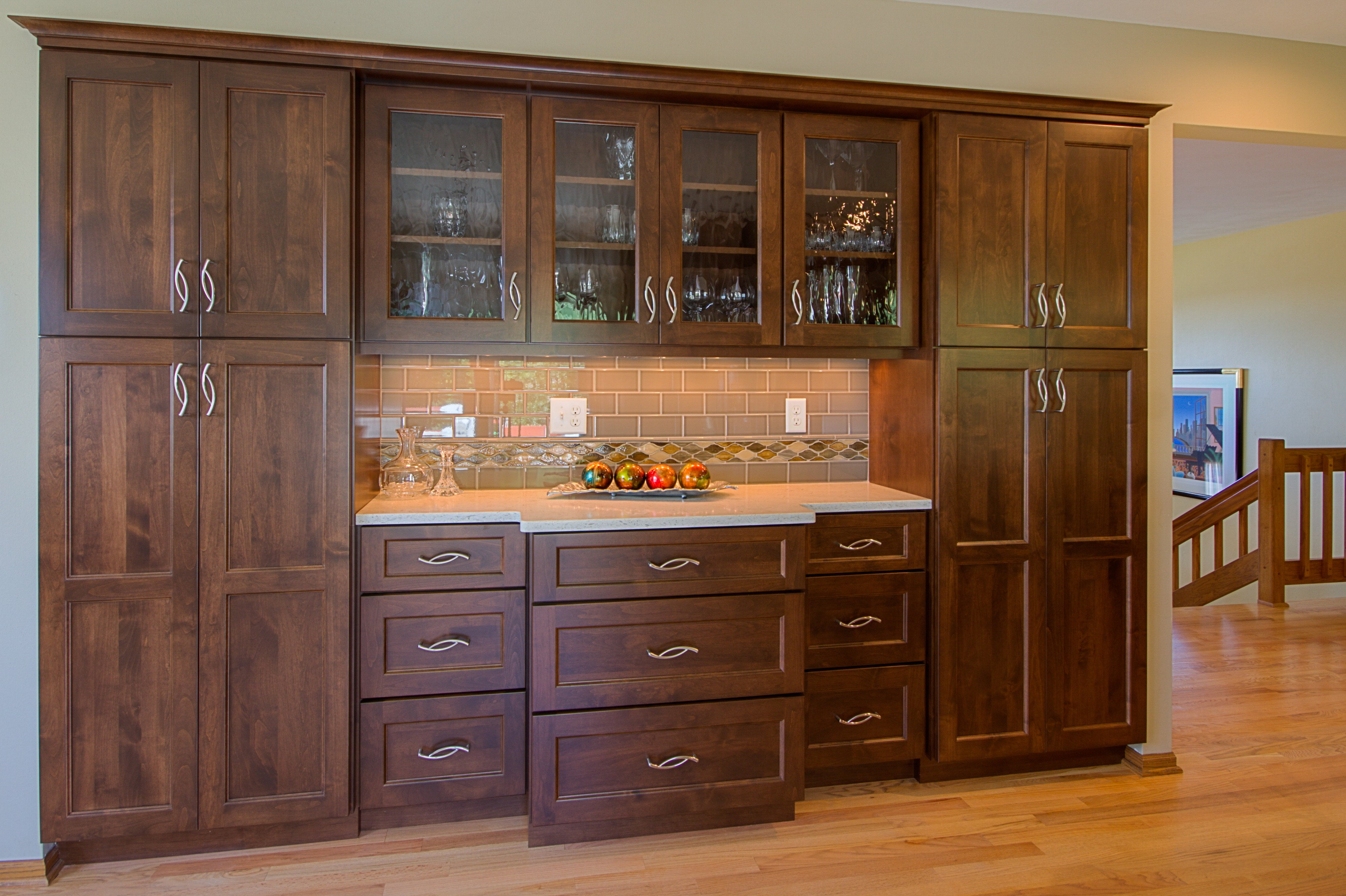 Kitchen Remodeling and Design, bar cabinets, glass bar cabinets, taupe subway tile, kitchen pantry cabinet,