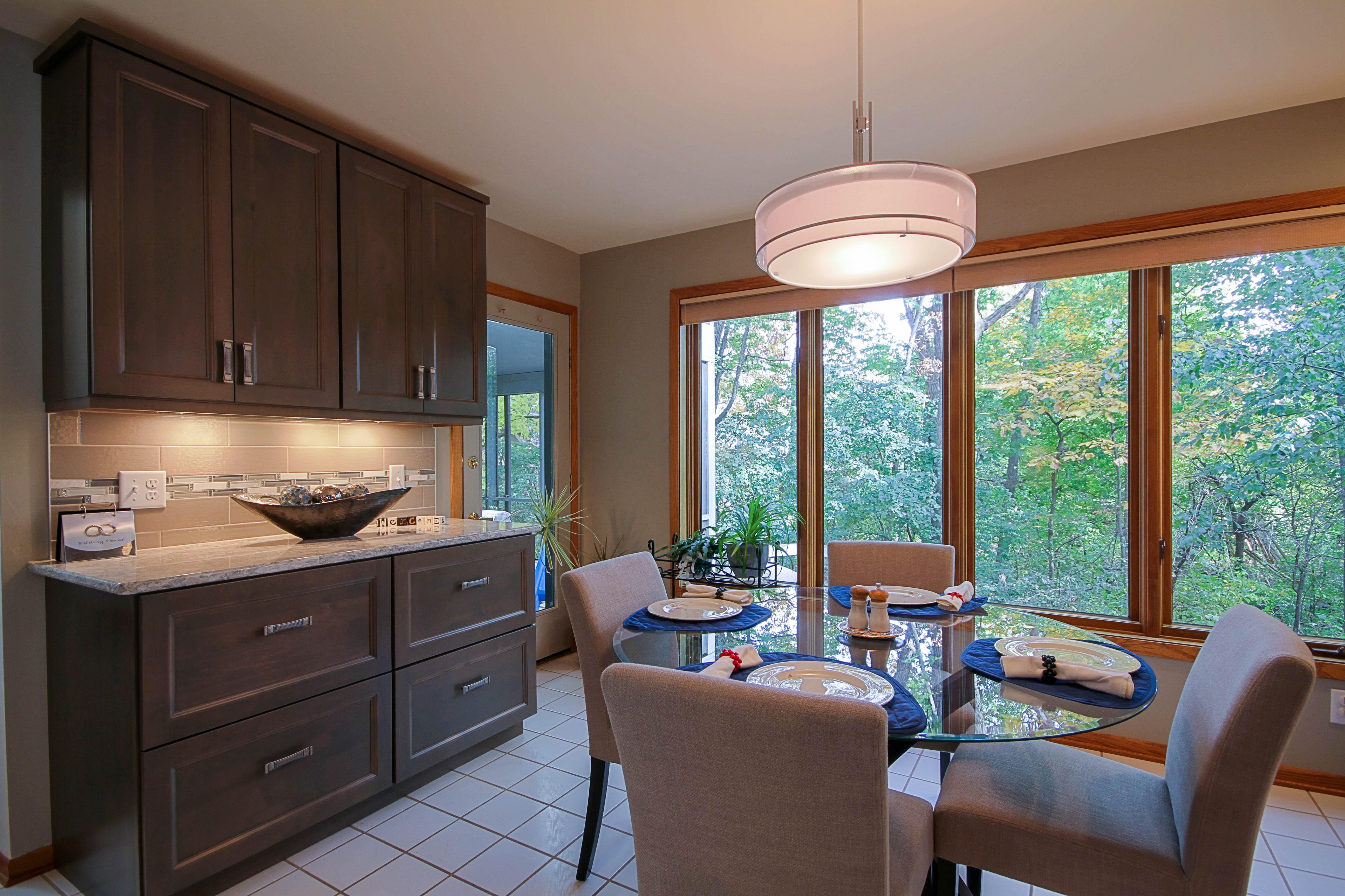 Kitchen Remodeling, eat-in kitchen design, dinette pendant