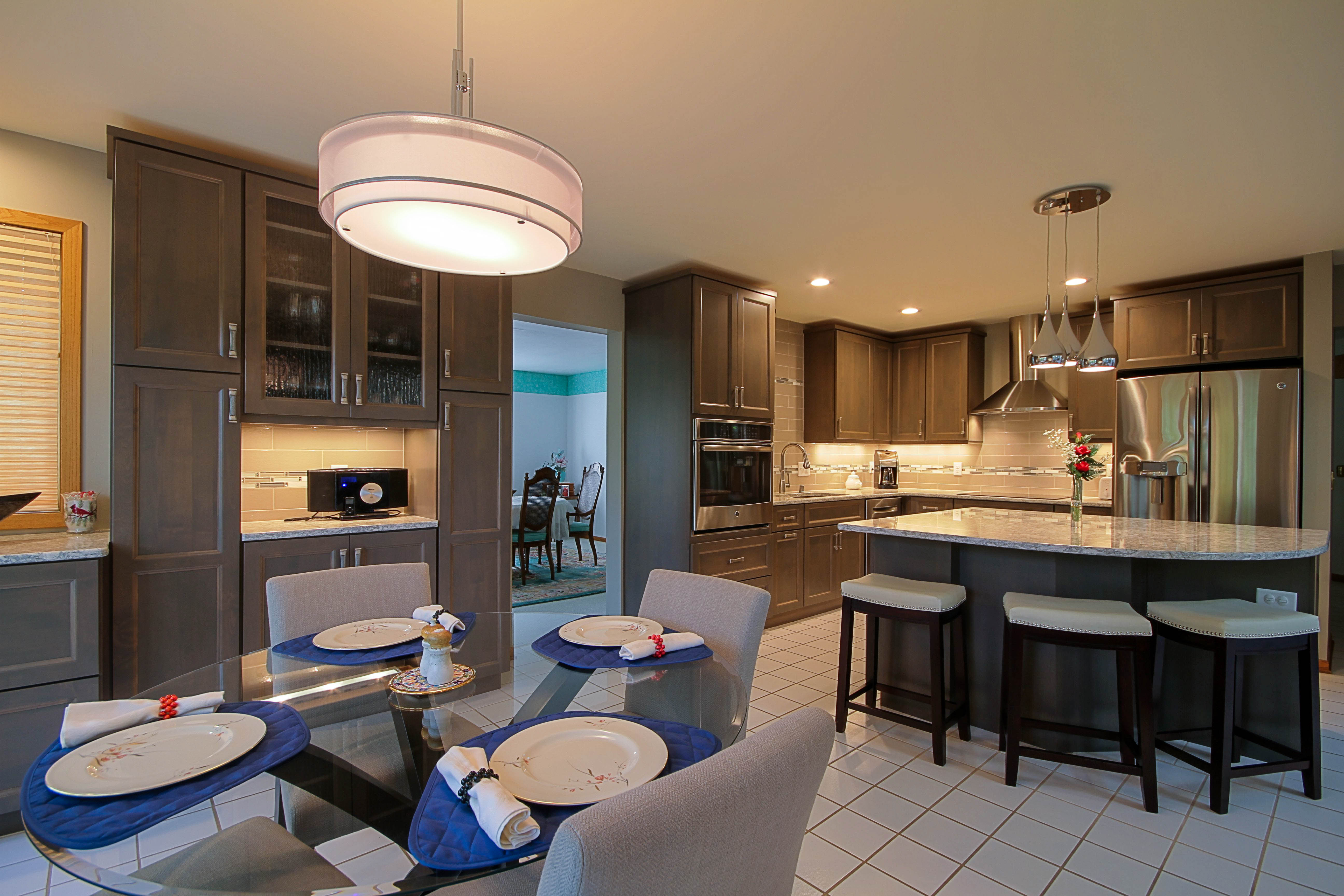 Kitchen Remodeling, white flooring, grey kitchen cabinets, wall oven