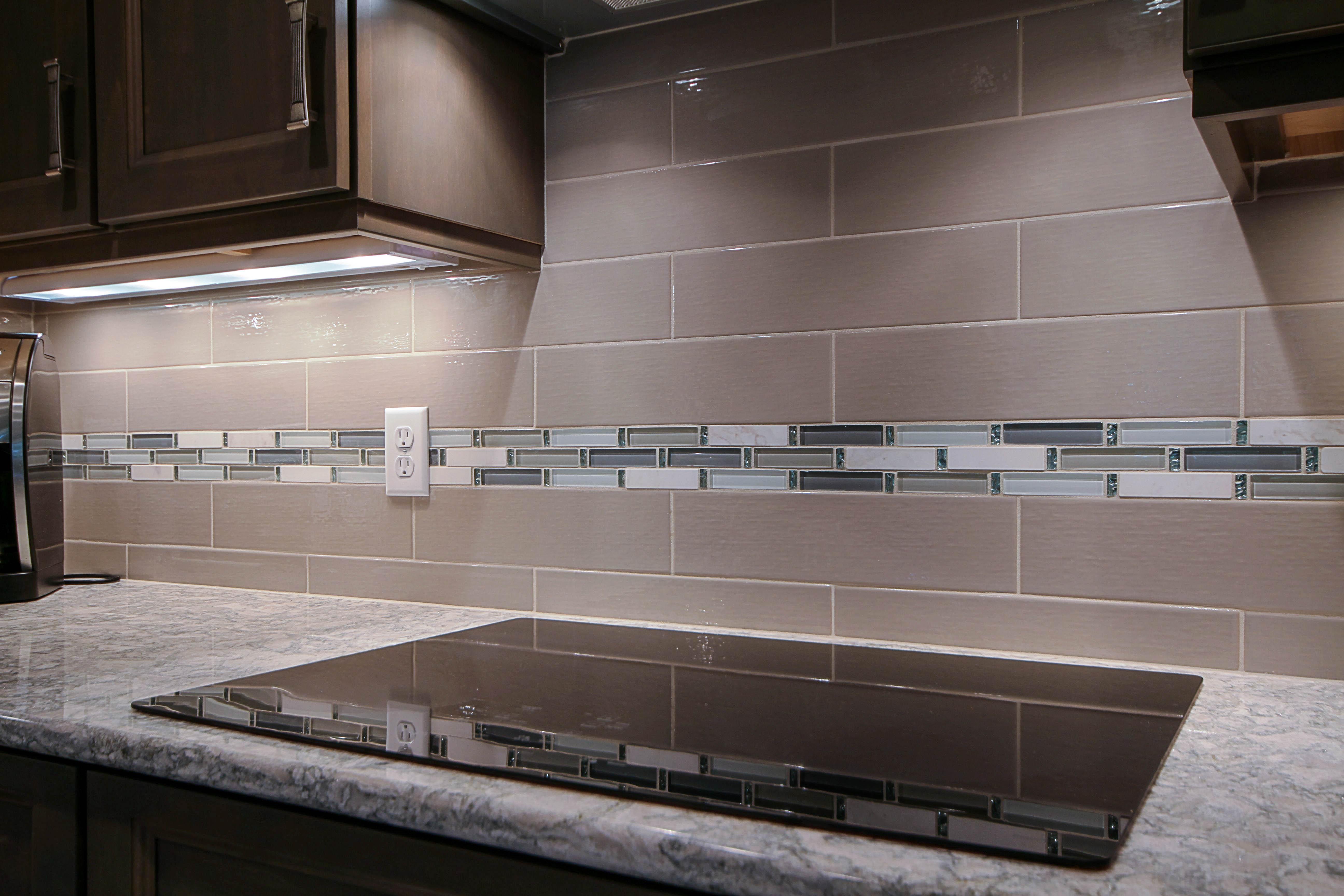 Kitchen Remodeling, grey subway kitchen backsplash, glass accent tile