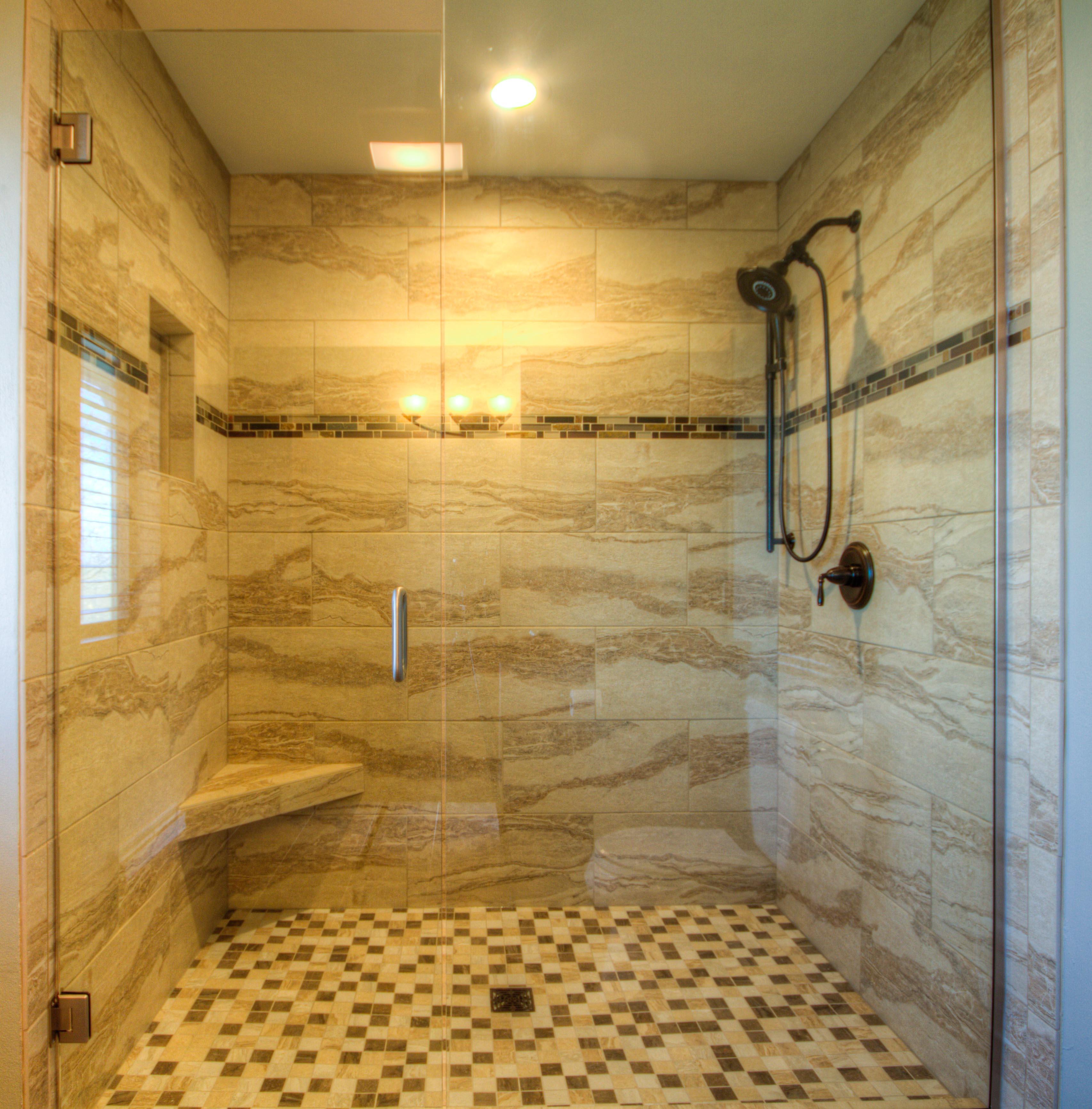 Bathroom Design, large walk-in shower, small corner shower bench