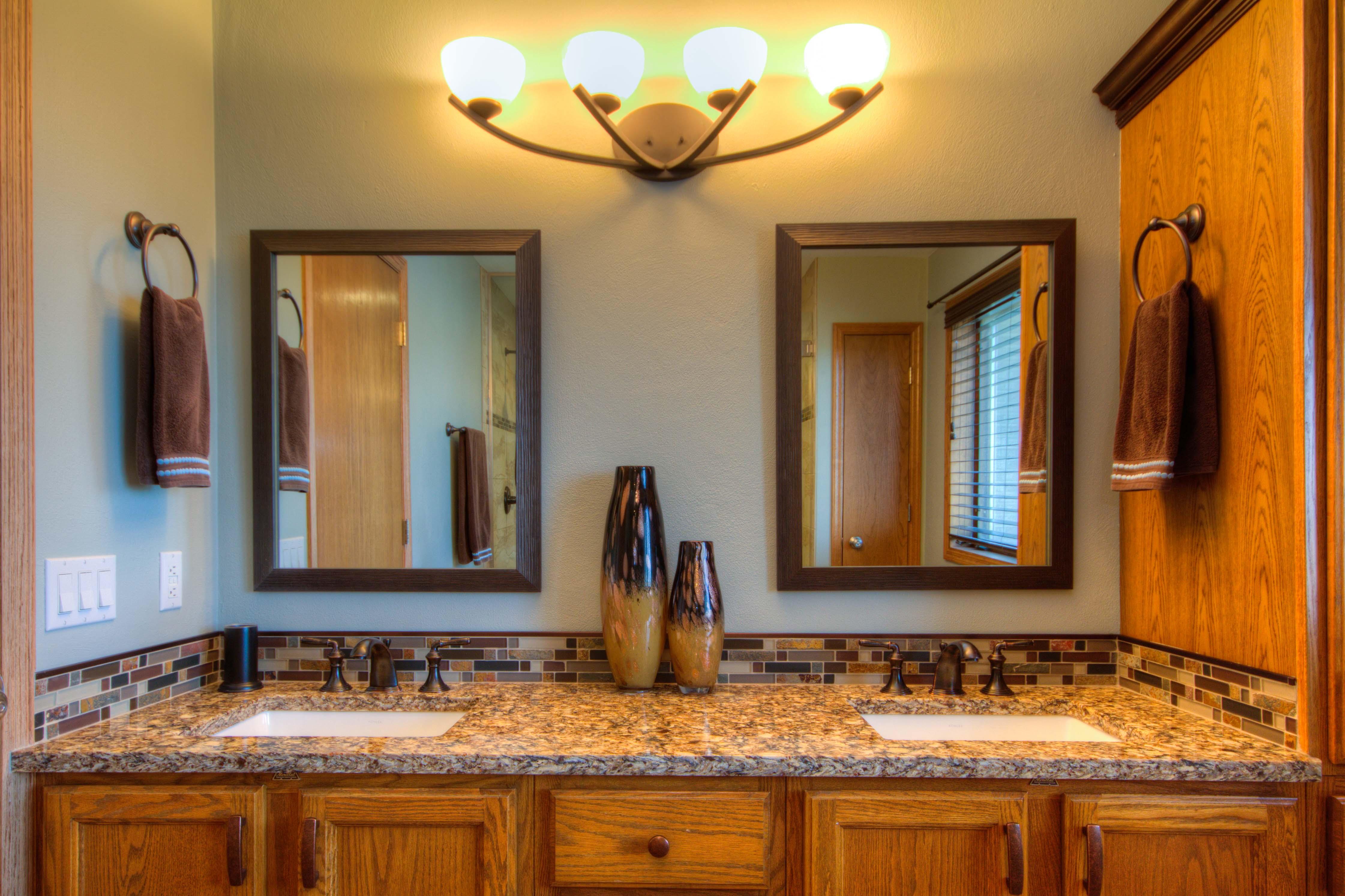 Bathroom Design, oak vanity cabinets, cambria countertop, double sink oak cabinet