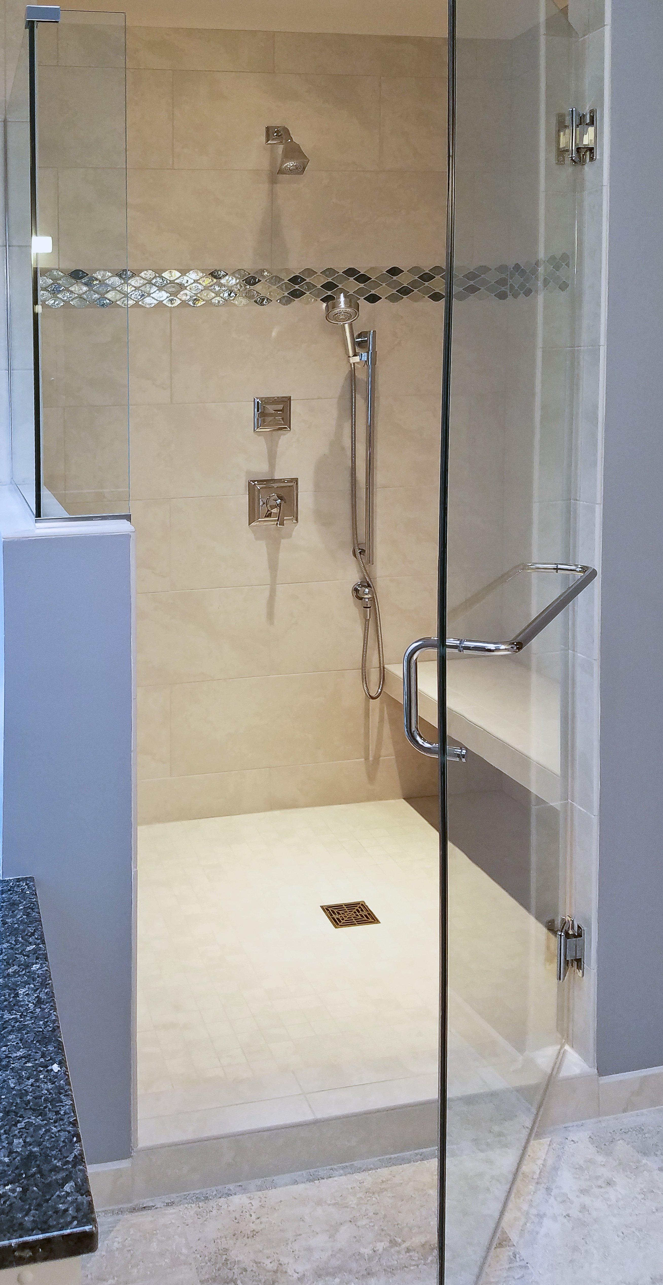 Bathroom Design, custom walk-in shower, blue glass accent tile, glass shower door