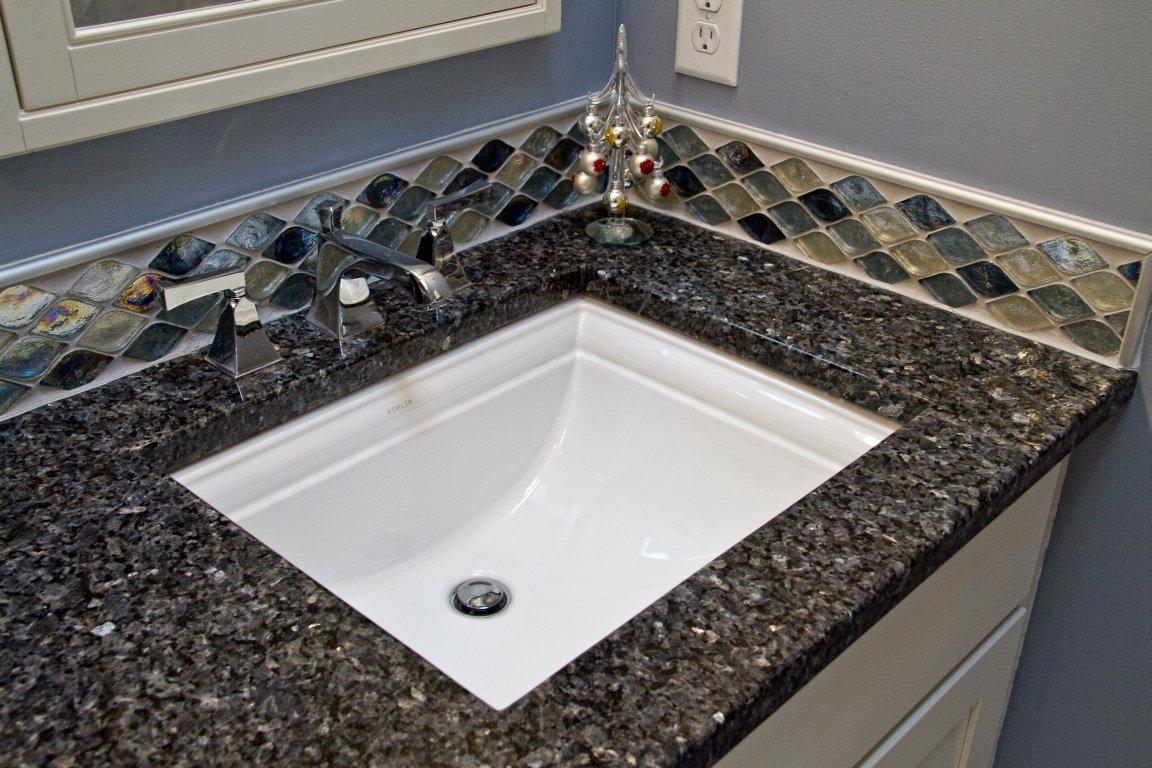 Bathroom Design, kohler memoirs sink, kohler memoirs faucet, chrome sink faucet, tile vanity backsplash