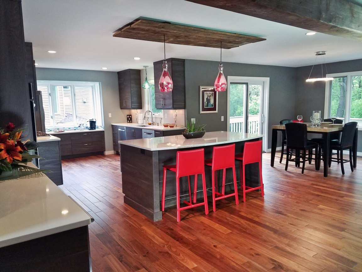 Kitchen Remodeling and Design, walnut kitchen flooring, walnut floors, red bar stools, barn wood accents
