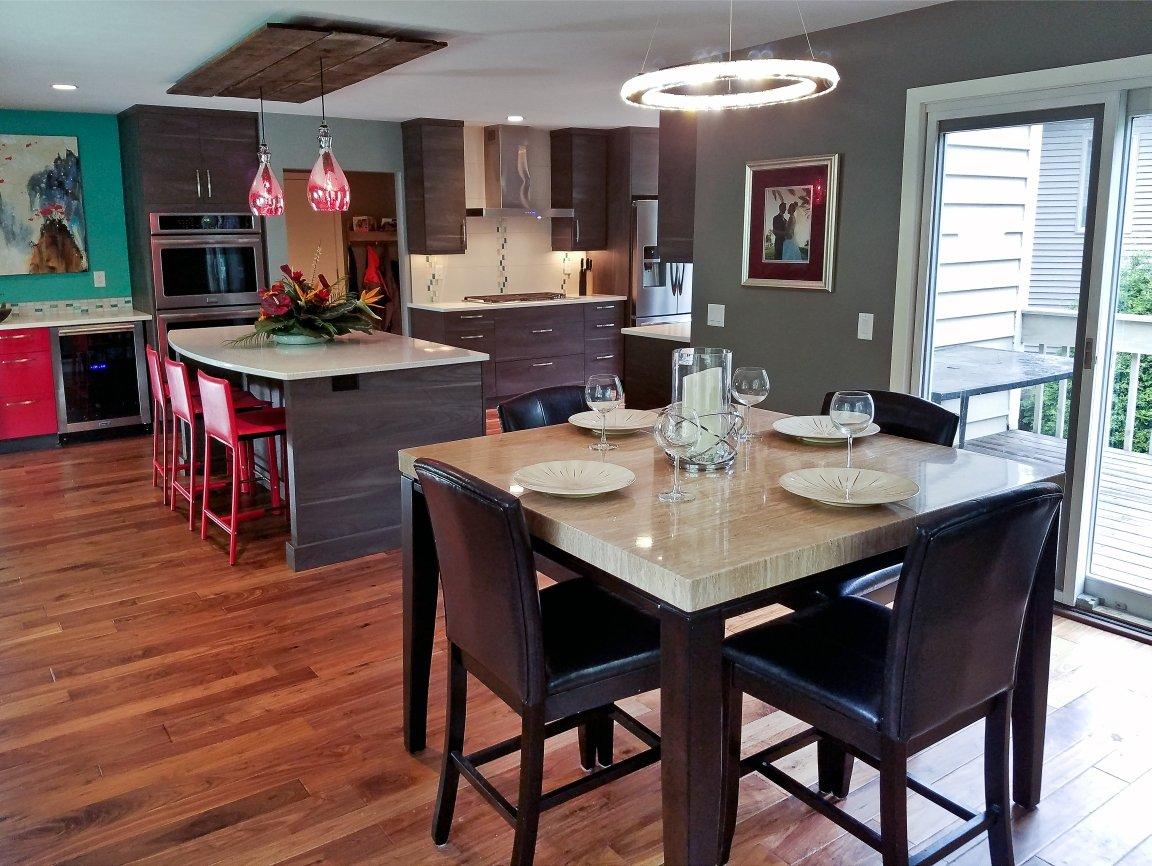 Kitchen Remodeling and Design, modern kitchen design, walnut flooring