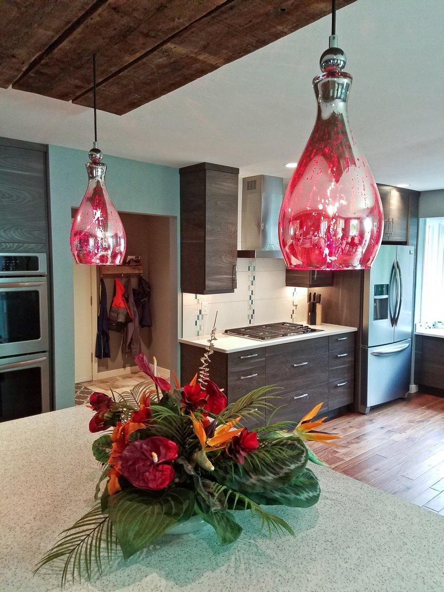 Kitchen Remodeling and Design, red kitchen pendant, red mercury glass pendants, white cambria countertop, white quartz countertop
