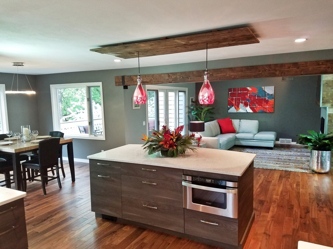 Kitchen Remodeling and Design, kitchen island, microwave in the island, undercounter microwave, white cambria countertop, whitney cambria countertop