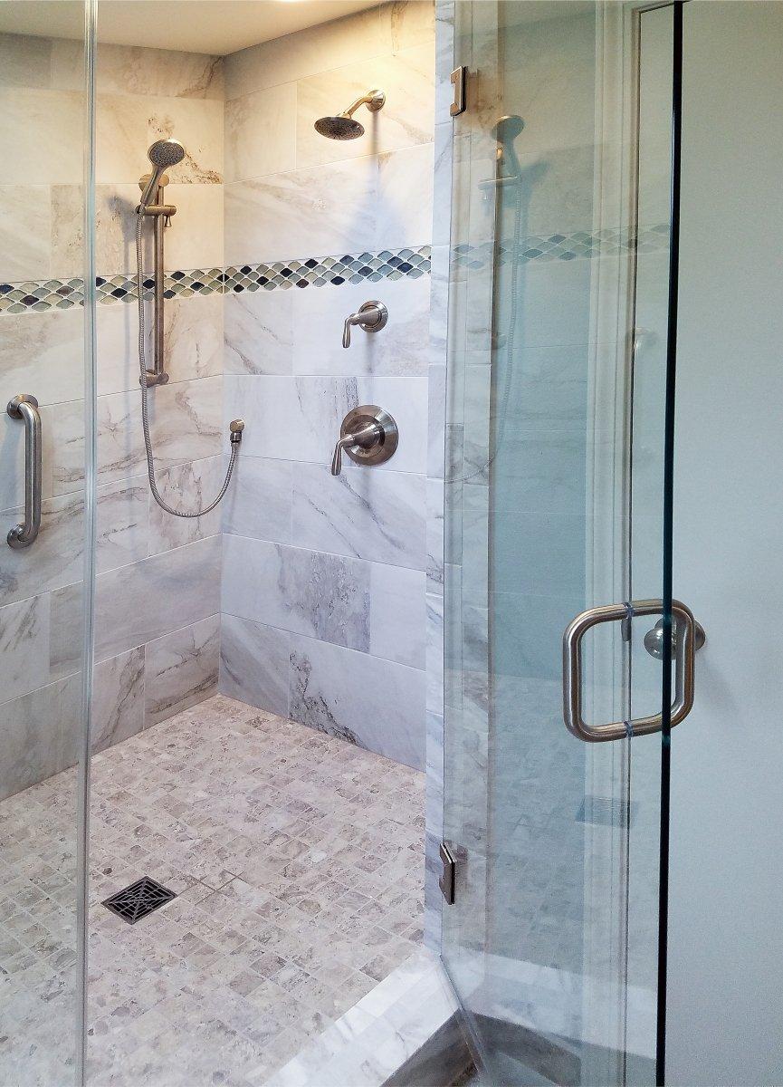 Bathroom Remodeling, large walk-in shower, 2x2 shower floor tile