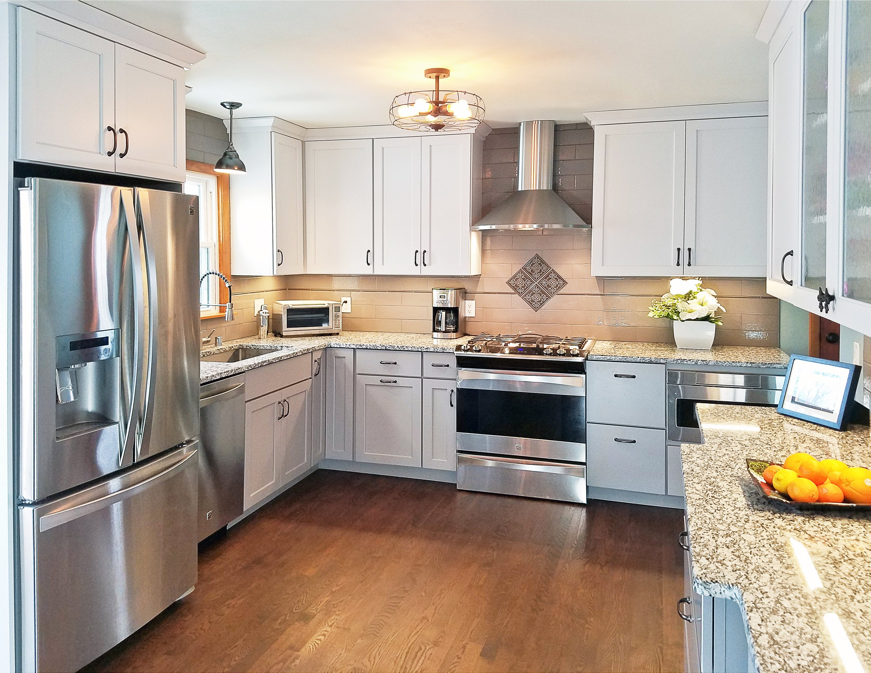 Kitchen Remodeling and Design, white kitchen design, white shaker door, dark stained oak flooring, oak floors,