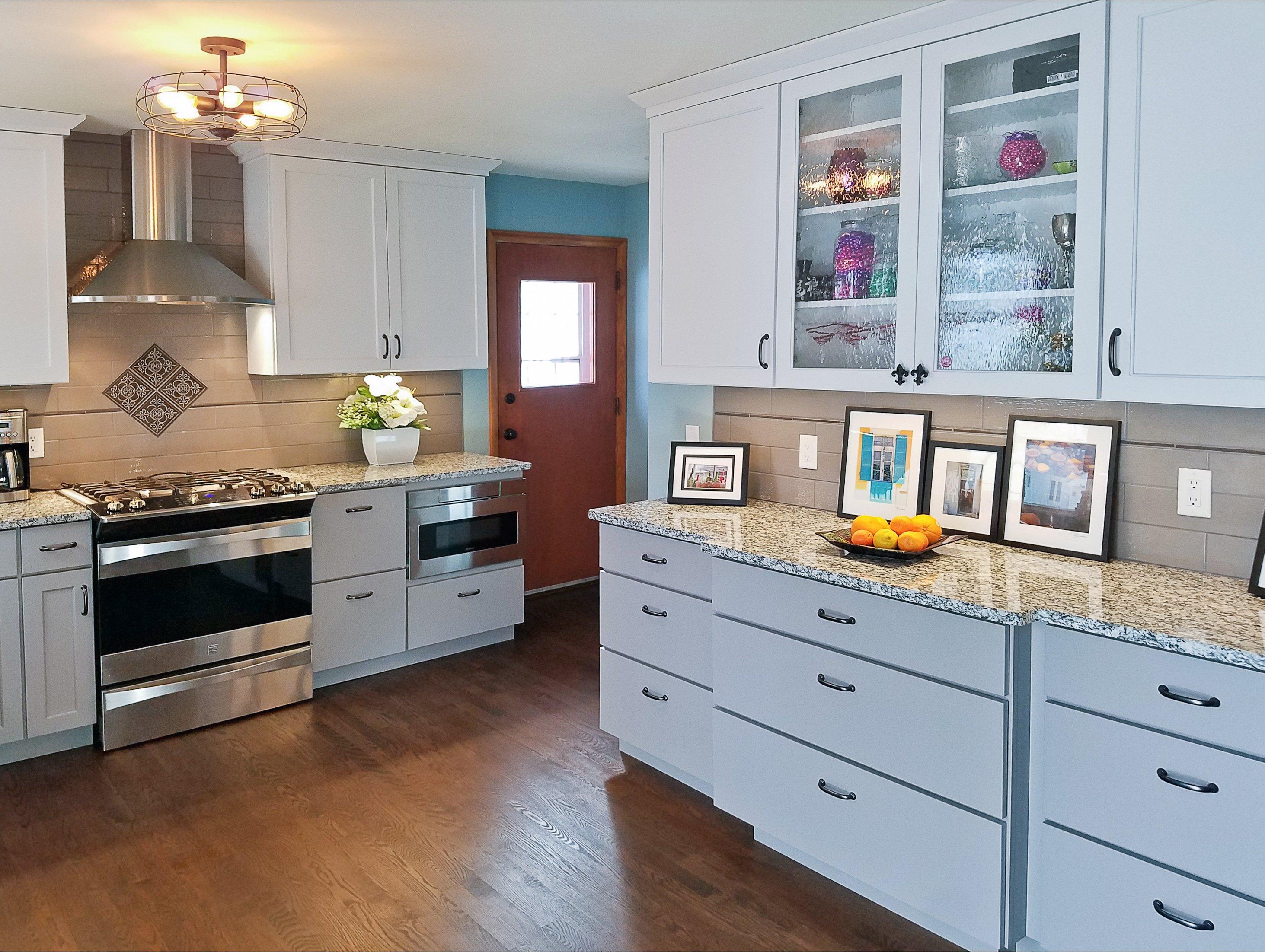 Kitchen Remodeling and Design, kitchen buffet cabinet, glass kitchen cabinets, taupe subway tile backsplash